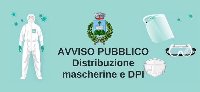 Avviso pubblico - Criteri e indirizzi per la distribuzione di mascherine e DPI